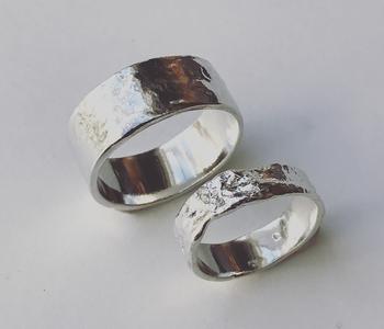 handgemaakte zilveren ringen ( set )