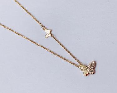 stainless steel , ketting met vlinder