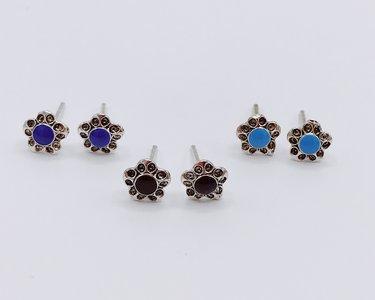 oorbellen met bloem en turkoois