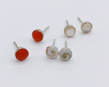 oorbellen met halfedelstenen 6 mm